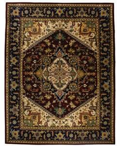 Handmade Heritage Heriz Red/ Navy Wool Rug (9'6 x 13'6)