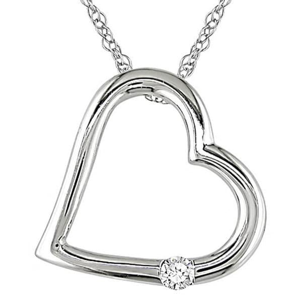 Miadora 10k White Gold Diamond Accent Heart Necklace