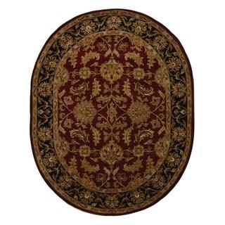 Safavieh Handmade Kashan Burgundy/ Black Wool Rug (7'6 x 9'6 Oval)