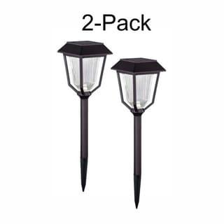 Terrace 2-Pack 4.75-in Outdoor LED Bronze Solar Landscape Light - 4.75-in W x 13.5-in H x 4.75-in D