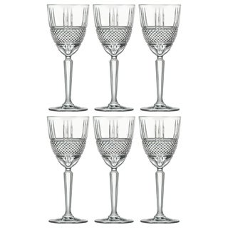 Majestic Gifts Inc. Set/6 Crystal Designed Wine Goblet - 8 oz.-Made in Europe