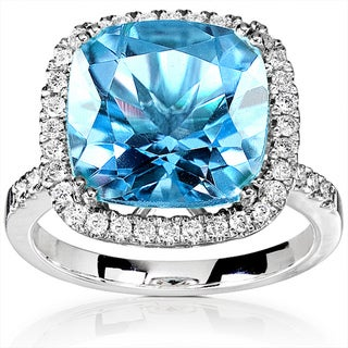Annello 14k White Gold 1/3ct TDW Diamond Blue Topaz Ring with Satin and Velvet Gift Box