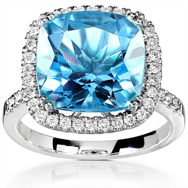 Annello 14k White Gold 1/3ct TDW Diamond Blue Topaz Ring