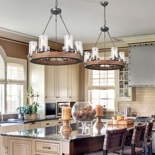The Gray Barn Lynde Hollow 6-light Circular Rustic Wood Chandelier