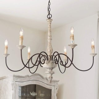 The Gray Barn Ingleside French Country Distressed White Chandelier