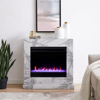 Dejon Contemporary White Stone Color Changing LED Fireplace
