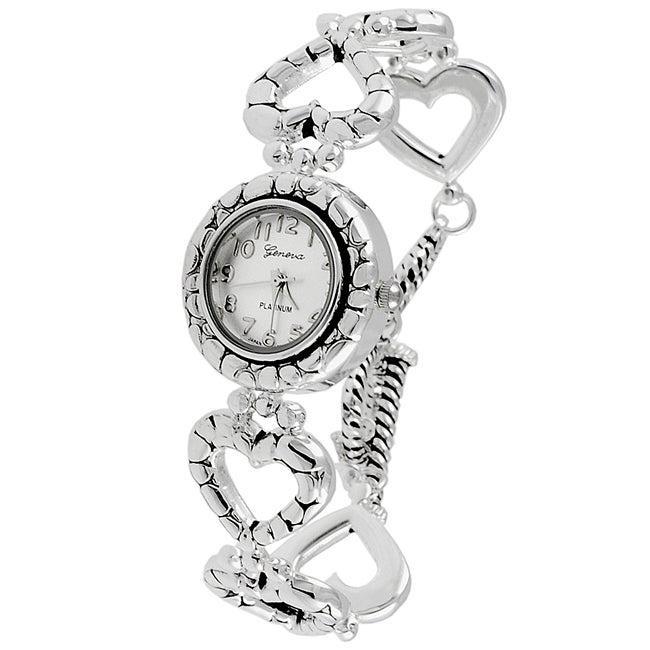 Geneva Platinum Heart Link Bracelet Watch
