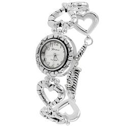 Geneva Platinum Heart Link Bracelet Watch