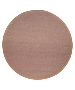 Hand-woven Khaki Sisal Wool Rug (6' Round)