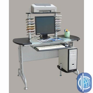 International Caravan Half Glass-top CPU Workstation Desk