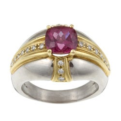 Platinum and 18k Gold Pink Tourmaline and 1/5ct TDW Diamond Estate Ring (Size 11.5)