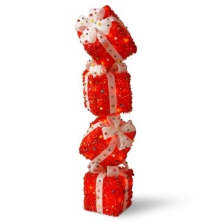 34-inch Pre-lit Red Gift Box Tower Christmas Decoration