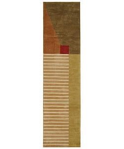 Handmade Rodeo Drive Trio Multicolor N.Z. Wool Runner (2'6 x 10')