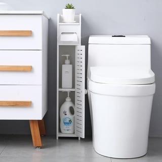 Paper Towel Storage Narrow Cabinet Bathroom Floor Cabinet Storage Organizer