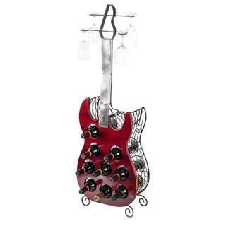 Vintage Guitar Shaped Freestanding Decorative Wine Holder