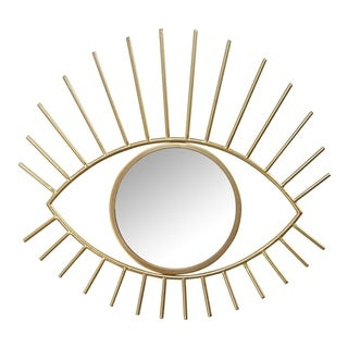 Stratton Home Decor Gold Metal Eye Wall Mirror