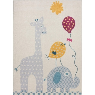 Yellow White Colorfull Area rug Carpet Mat Baloons Sun Elephant Bird Giraffe Animals Cartoon Kids Room Nursery 4x5 5x7 7x9 8x10