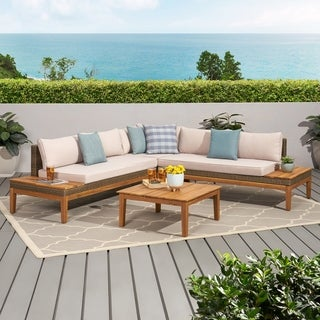 Loft Outdoor 5 Seater Acacia Wood and Wicker Sectional Sofa Set with Water-Resistant Cushions by Christopher Knight Home
