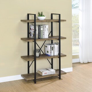 Carbon Loft Agwan Rustic Oak and Black 4-tier Open Shelving Bookcase