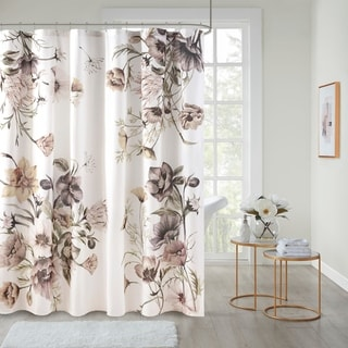 Madison Park Gisele Blush Printed Cotton Shower Curtain