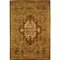 Handmade Classic Royal Beige/ Olive Wool Rug (4' x 6')