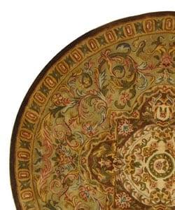 Handmade Classic Royal Beige/ Olive Wool Rug (6' Round)