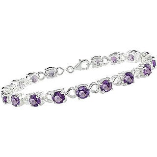 Miadora Sterling Silver Round Amethyst and Heart Link Bracelet