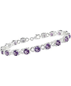 Sterling Silver Round Amethyst and Heart Link Bracelet