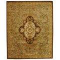 Handmade Classic Royal Beige/ Olive Wool Rug (9'6 x 13'6)