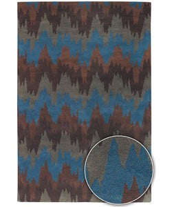 Hand-Tufted Contemporary Mandara Indoor Wool Rug (8' x 11')
