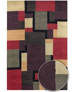 Hand-tufted Contemporary Mandara Multicolored Wool Rug (5' x 8')
