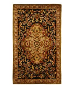 Handmade Classic Royal Black/ Beige Wool Rug (4' x 6')