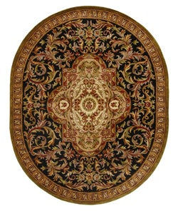 Handmade Classic Royal Black/ Beige Wool Rug (7'6 x 9'6 Oval)