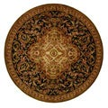 Safavieh Handmade Classic Royal Black/ Beige Wool Rug (8' Round)