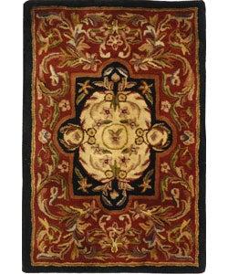 Safavieh Handmade Classic Royal Red/ Black Wool Rug (2' x 3')
