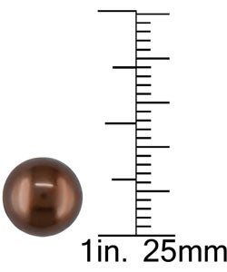 Miadora 14k Gold Cultured Round Brown Pearl Earrings (8.5-9mm)