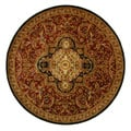 Handmade Classic Royal Red/ Black Wool Rug (8' Round)