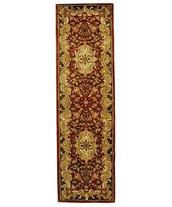 Handmade Classic Juliette Rust/ Green Wool Rug (2'3 x 8')