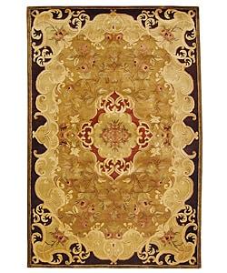 Handmade Classic Juliette Gold Wool Rug (6' x 9')