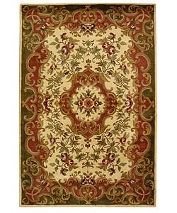 Handmade Classic Juliette Ivory/ Green Wool Rug (6' x 9')