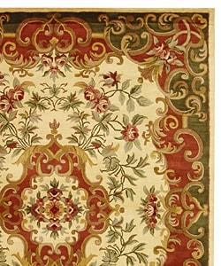 Safavieh Handmade Classic Juliette Ivory/ Green Wool Rug (7'6 x 9'6)