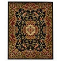 Handmade Classic Juliette Black/ Green Wool Rug (8'3 x 11')