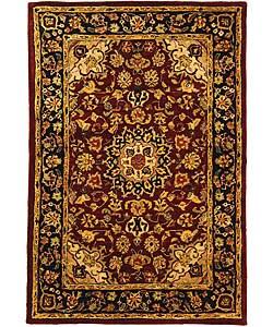 Safavieh Handmade Classic Kerman Burgundy/ Navy Wool Rug (3' x 5')