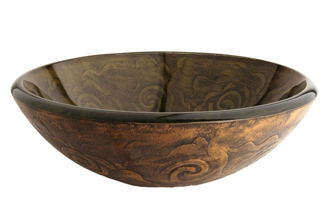 Fontaine Olive Swirls Glass Vessel Sink