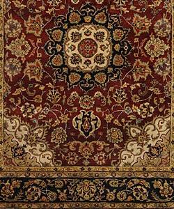 Handmade Classic Kerman Burgundy/ Navy Wool Rug (7'6 x 9'6)