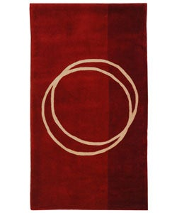 Handmade Rodeo Drive Circle of Life Red/ Ivory N.Z. Wool Rug (2'6 x 4'6)