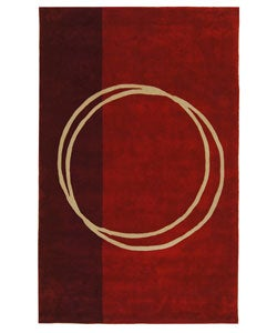 Handmade Rodeo Drive Circle of Life Red/ Ivory N.Z. Wool Rug (3'6 x 5'6)