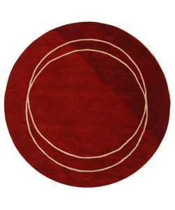 Handmade Rodeo Drive Circle of Life Red/ Ivory N.Z. Wool Rug (5'9 Round)