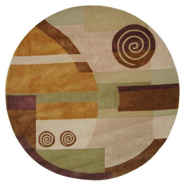 Safavieh Handmade Rodeo Drive Modern Abstract Beige Wool Rug (7'9 Round)