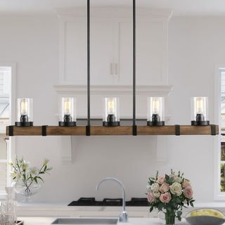 "Farmhouse Pendant Lighting with 5 lights Hanging Ceiling Lighting Fixture - L42.9 x W4.7""x H7.5"""